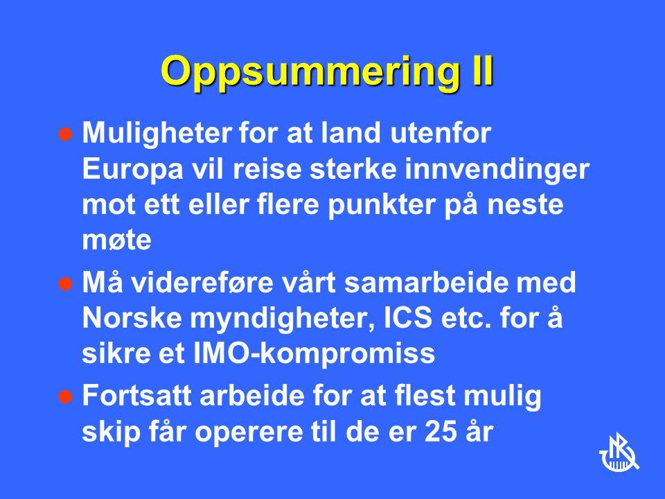 Oppsummering II Muligheter for at land utenfor Europa vil reise sterke innvendinger mot ett eller flere punkter på neste møte.