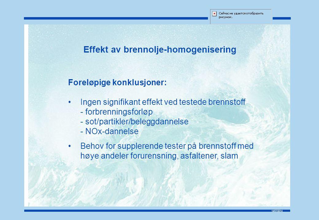 Effekt av brennolje-homogenisering