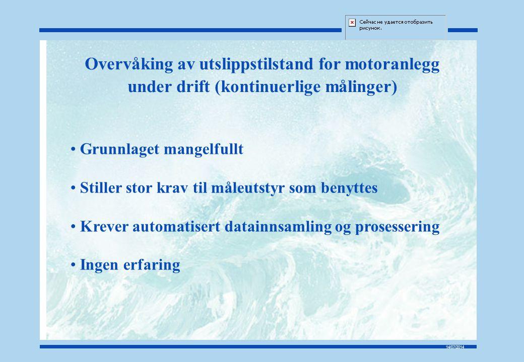 Overvåking av utslippstilstand for motoranlegg under drift (kontinuerlige målinger)