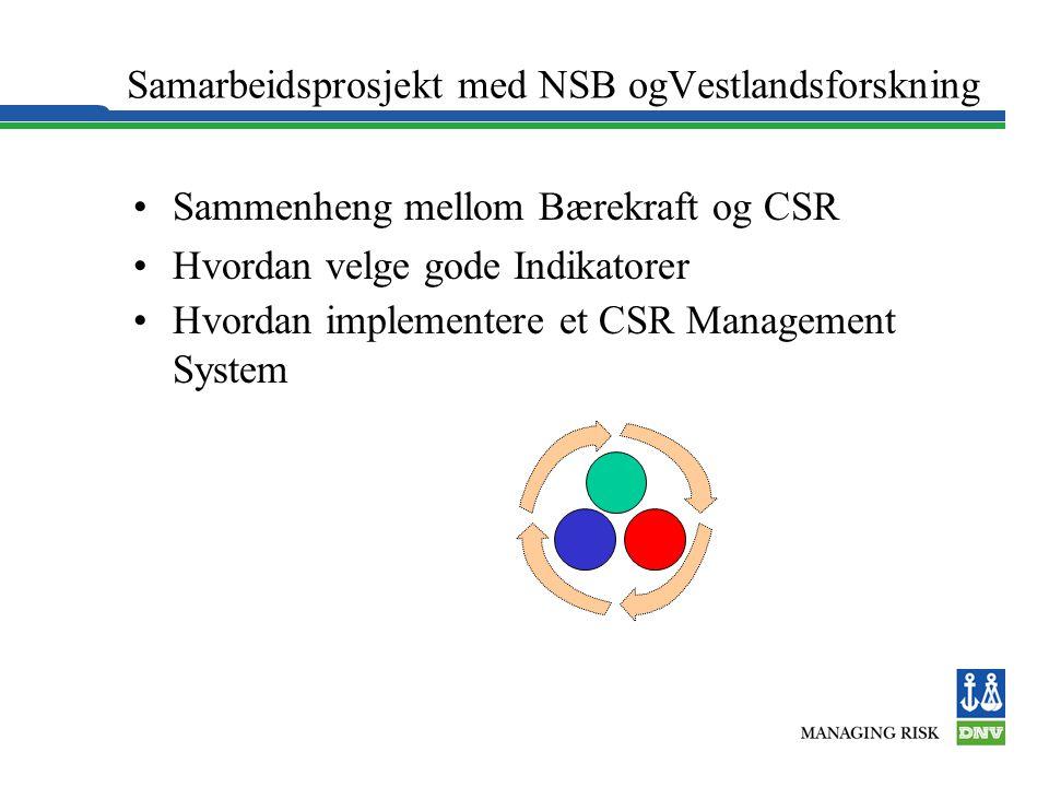 Samarbeidsprosjekt med NSB ogVestlandsforskning