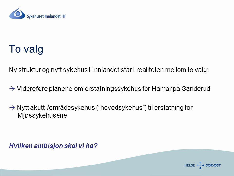 To valg Ny struktur og nytt sykehus i Innlandet står i realiteten mellom to valg:  Videreføre planene om erstatningssykehus for Hamar på Sanderud.