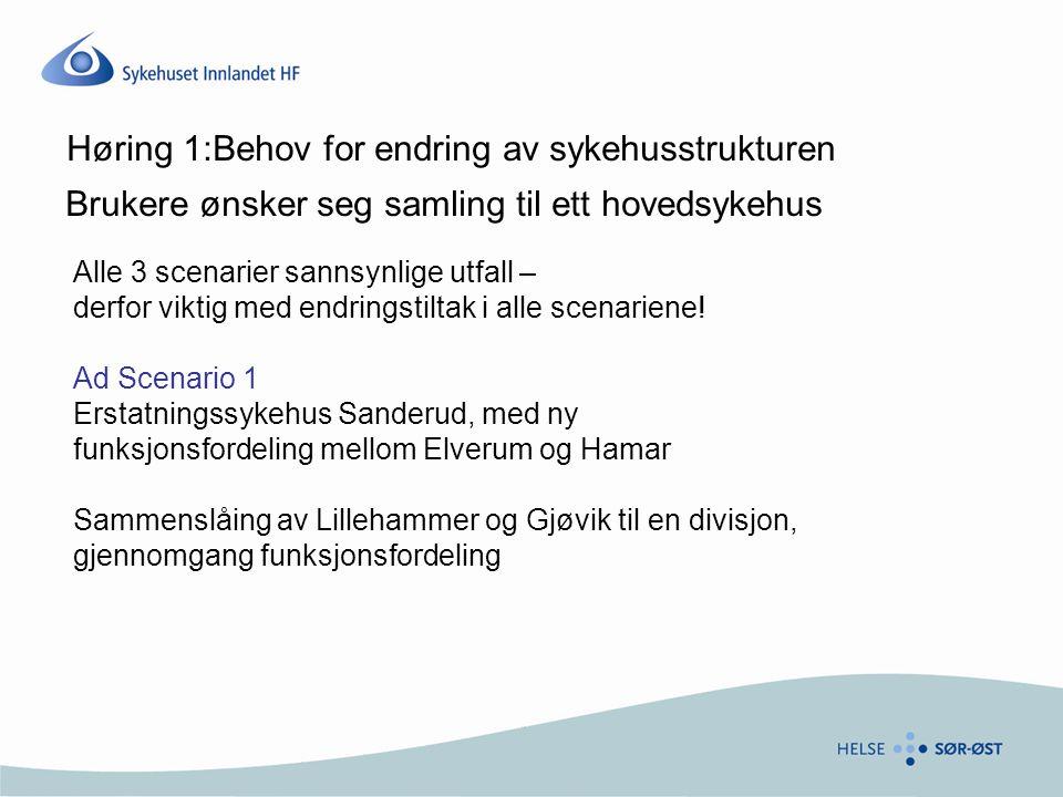 Høring 1:Behov for endring av sykehusstrukturen Brukere ønsker seg samling til ett hovedsykehus