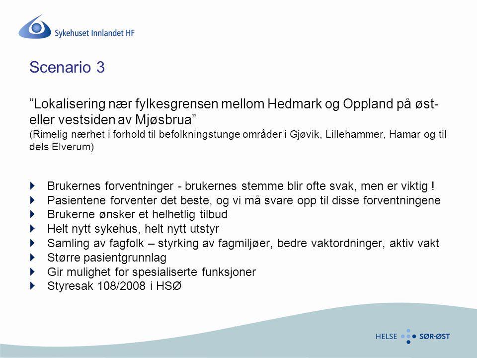 Scenario 3 Lokalisering nær fylkesgrensen mellom Hedmark og Oppland på øst- eller vestsiden av Mjøsbrua