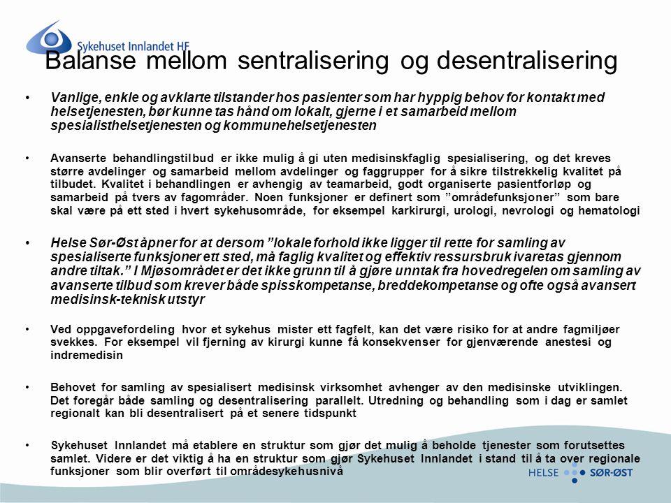 Balanse mellom sentralisering og desentralisering