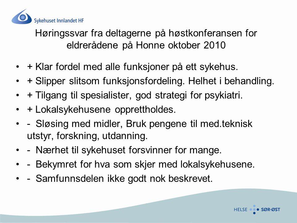 Høringssvar fra deltagerne på høstkonferansen for eldrerådene på Honne oktober 2010