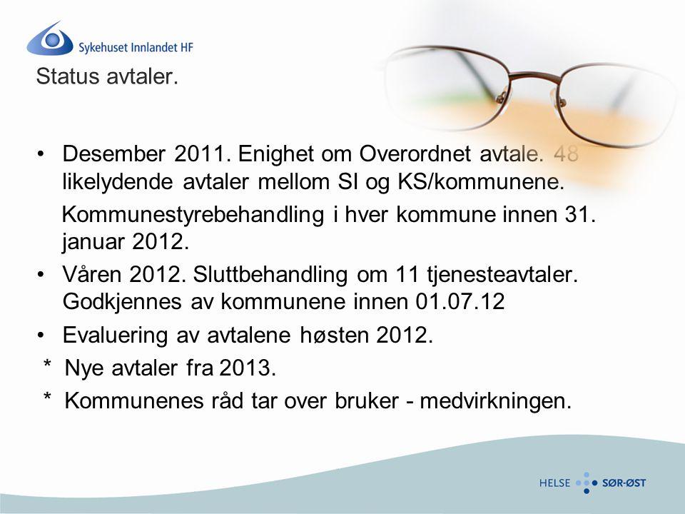 Status avtaler. Desember 2011. Enighet om Overordnet avtale. 48 likelydende avtaler mellom SI og KS/kommunene.