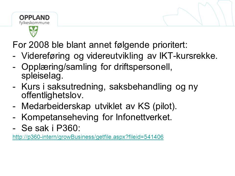 For 2008 ble blant annet følgende prioritert: