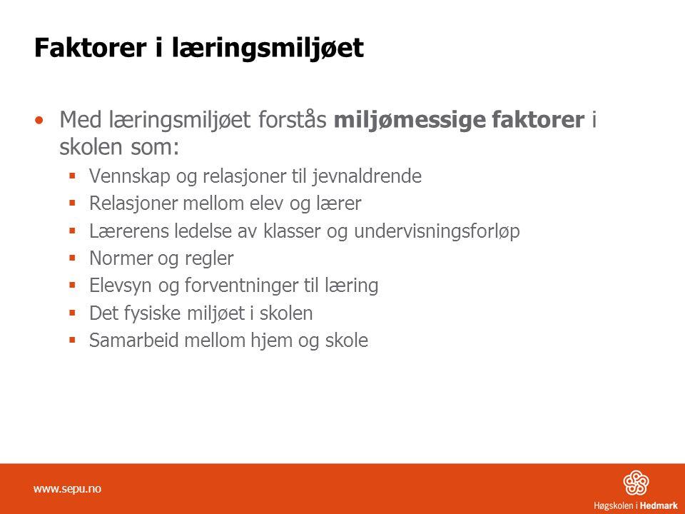 Faktorer i læringsmiljøet