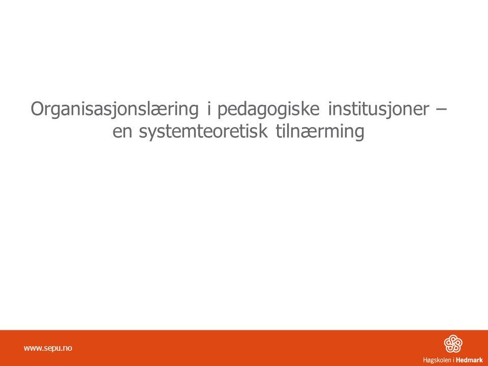 Organisasjonslæring i pedagogiske institusjoner – en systemteoretisk tilnærming