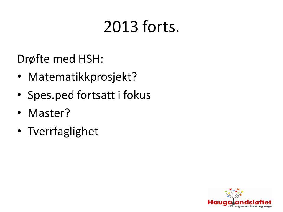 2013 forts. Drøfte med HSH: Matematikkprosjekt