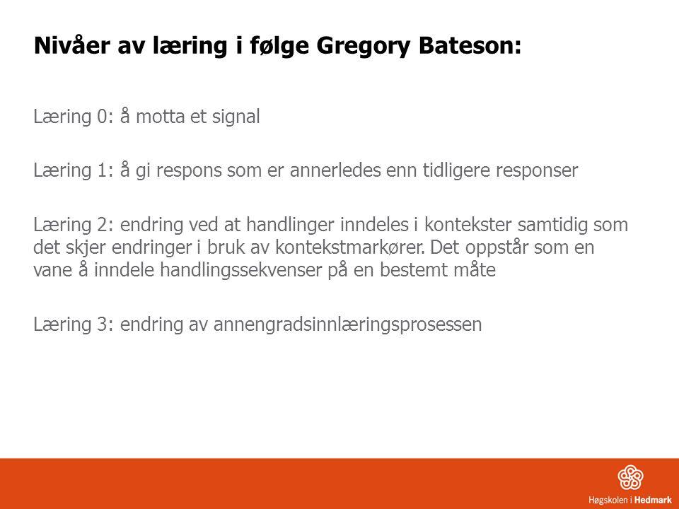 Nivåer av læring i følge Gregory Bateson: