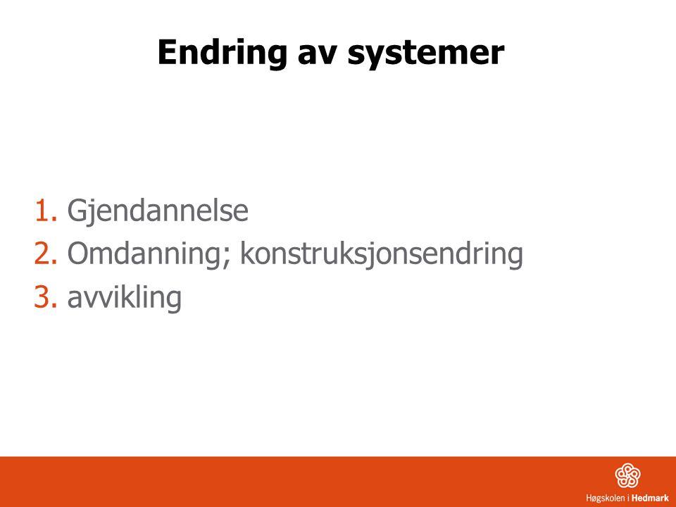 Endring av systemer Gjendannelse Omdanning; konstruksjonsendring