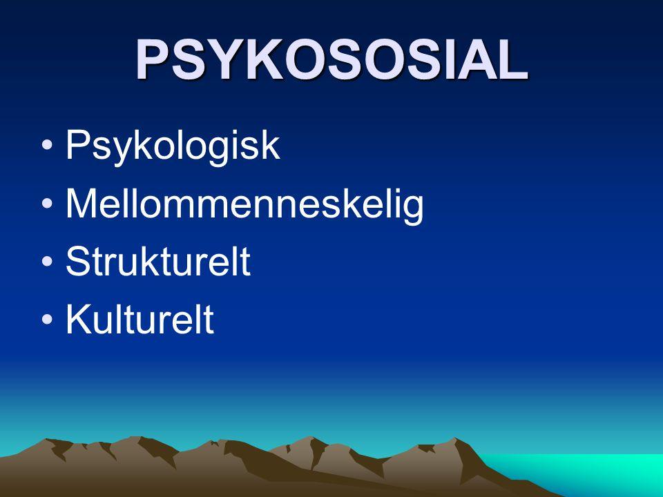 PSYKOSOSIAL Psykologisk Mellommenneskelig Strukturelt Kulturelt
