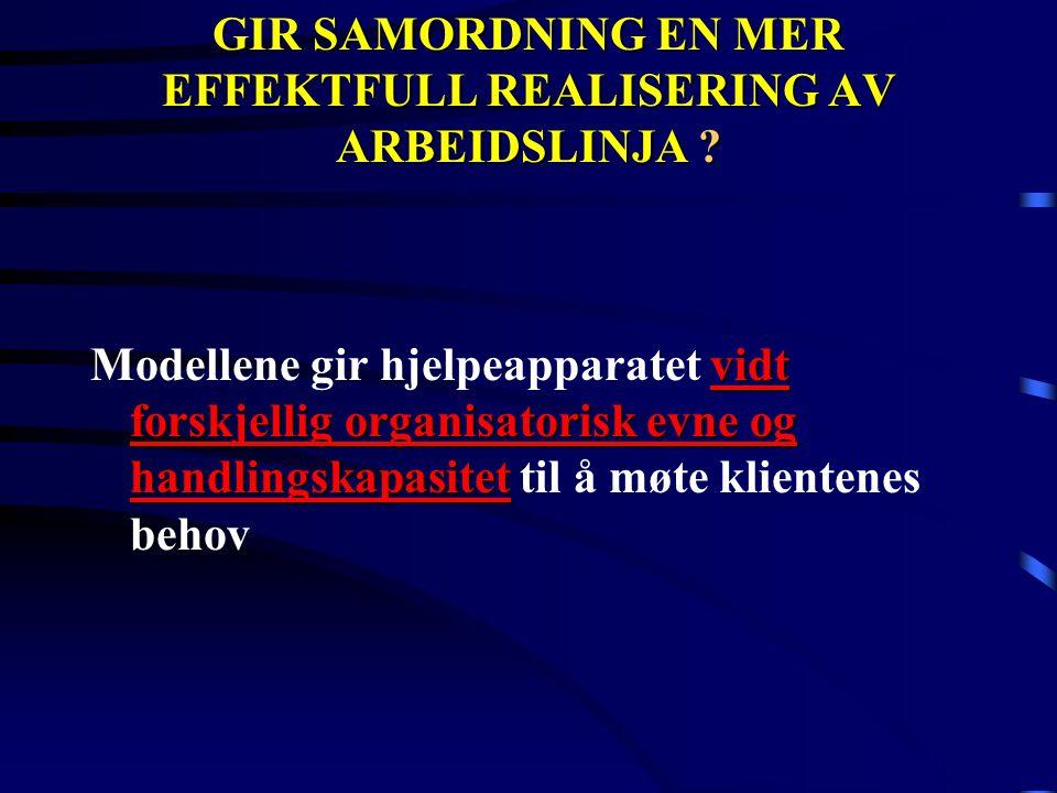 GIR SAMORDNING EN MER EFFEKTFULL REALISERING AV ARBEIDSLINJA