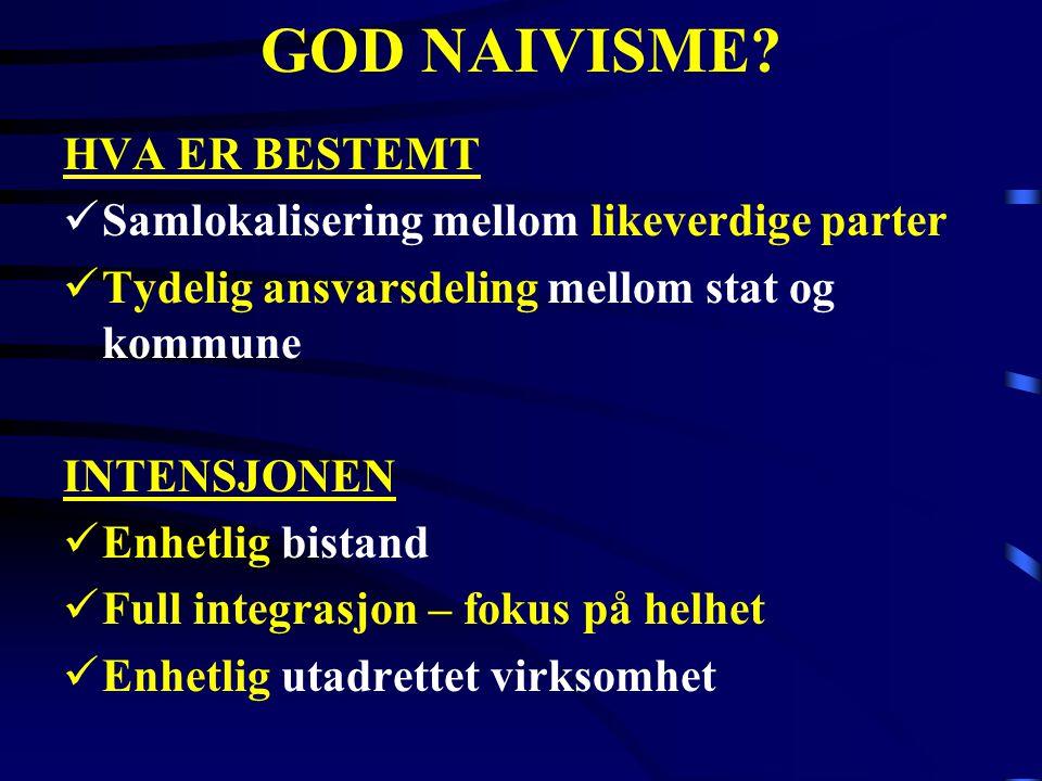 GOD NAIVISME HVA ER BESTEMT Samlokalisering mellom likeverdige parter