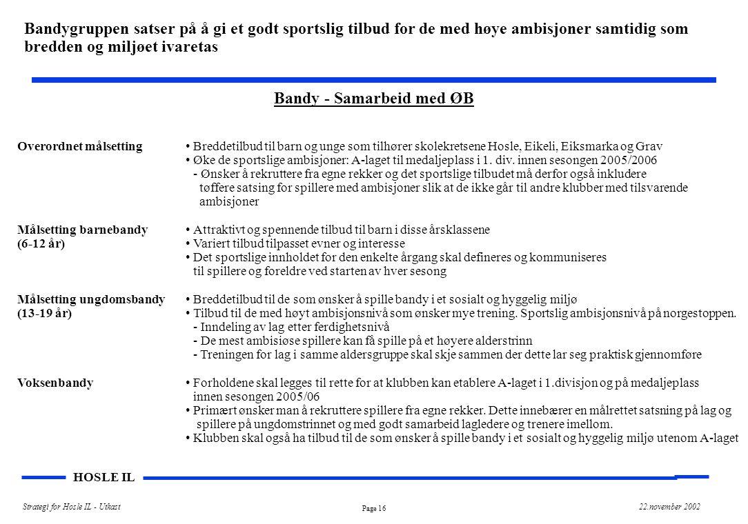 Bandy - Samarbeid med ØB