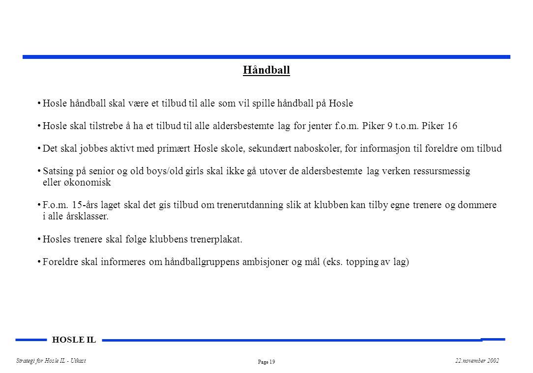 Håndball Hosle håndball skal være et tilbud til alle som vil spille håndball på Hosle.