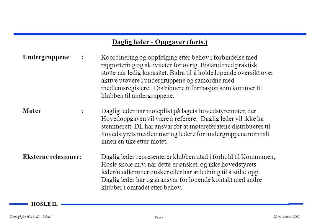 Daglig leder - Oppgaver (forts.)