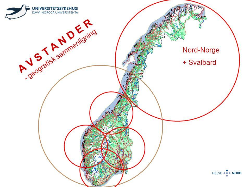 A V S T A N D E R - geografisk sammenligning Nord-Norge + Svalbard