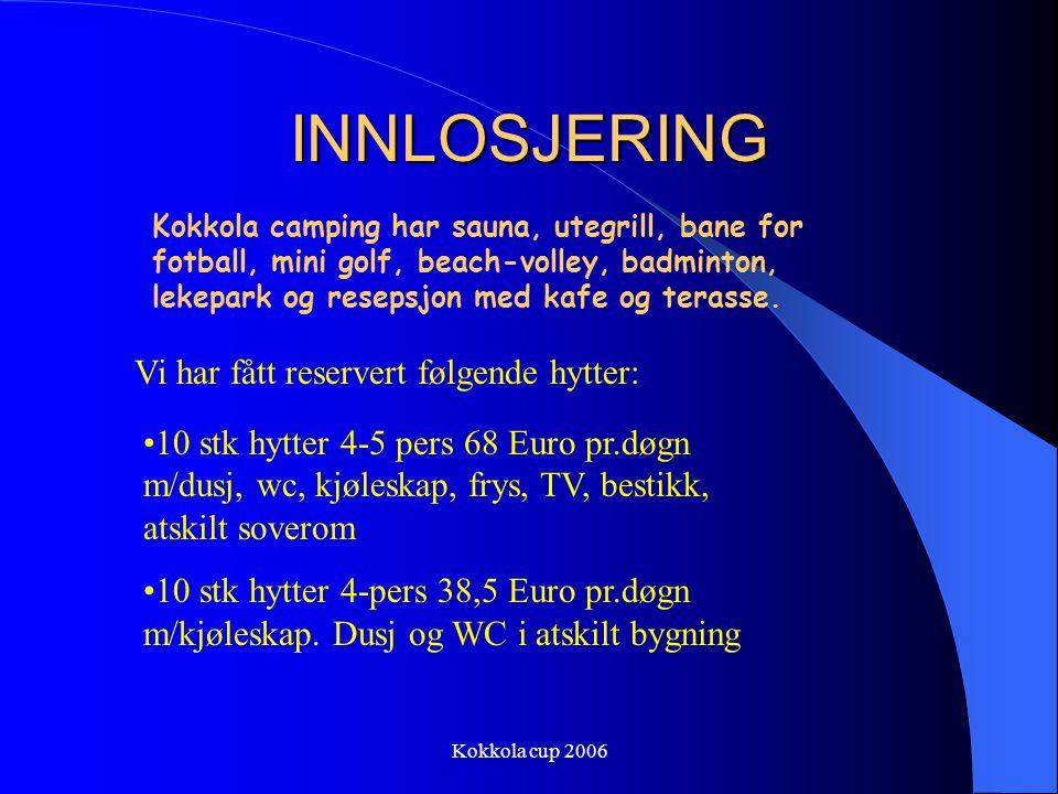 INNLOSJERING Vi har fått reservert følgende hytter: