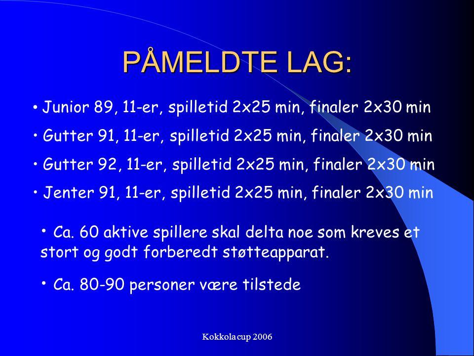 PÅMELDTE LAG: Junior 89, 11-er, spilletid 2x25 min, finaler 2x30 min. Gutter 91, 11-er, spilletid 2x25 min, finaler 2x30 min.