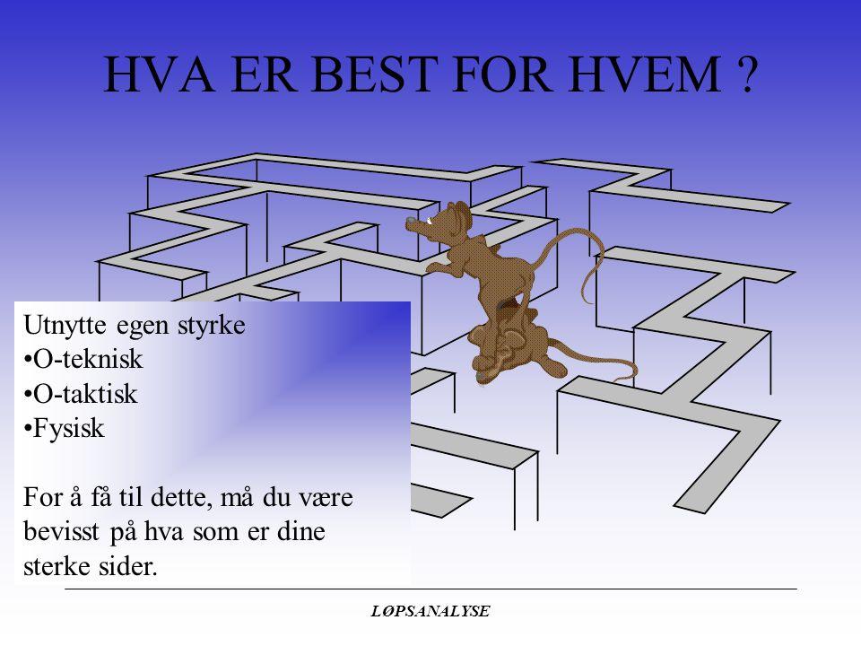 HVA ER BEST FOR HVEM Utnytte egen styrke O-teknisk O-taktisk Fysisk