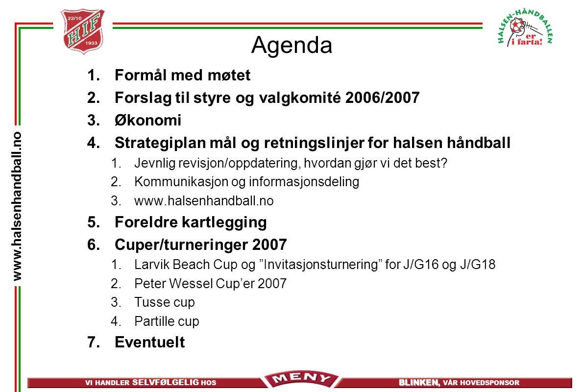 Agenda Formål med møtet Forslag til styre og valgkomité 2006/2007