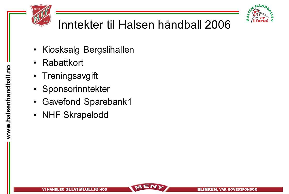 Inntekter til Halsen håndball 2006
