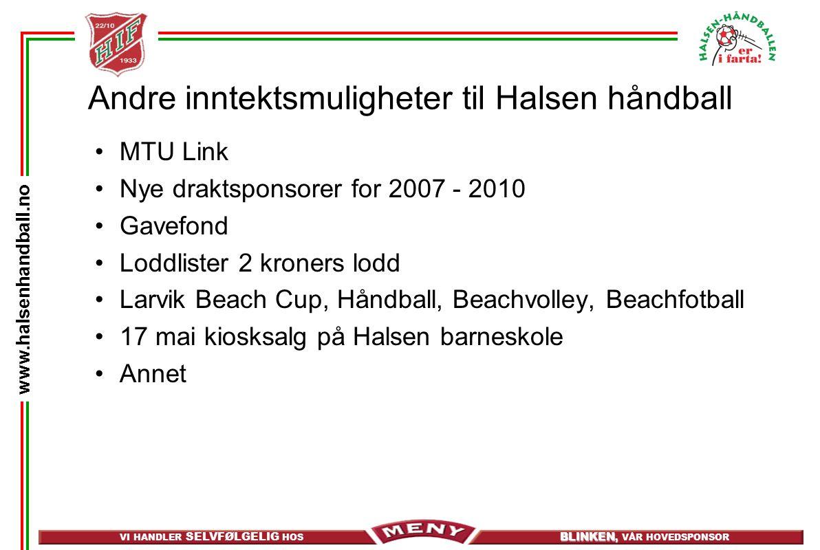 Andre inntektsmuligheter til Halsen håndball