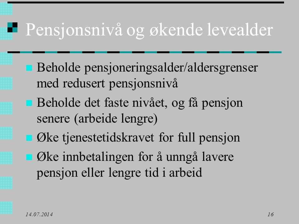 Pensjonsnivå og økende levealder