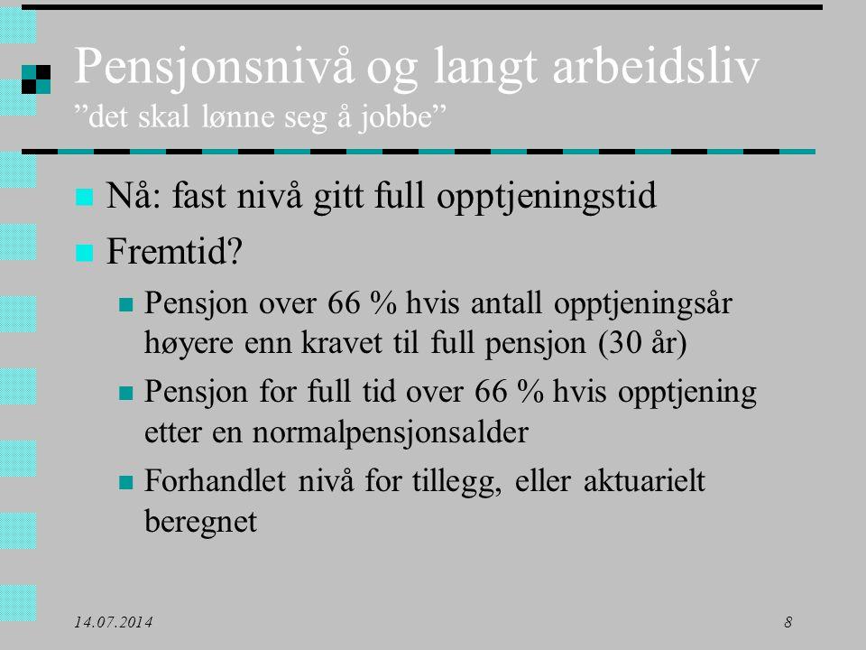 Pensjonsnivå og langt arbeidsliv det skal lønne seg å jobbe