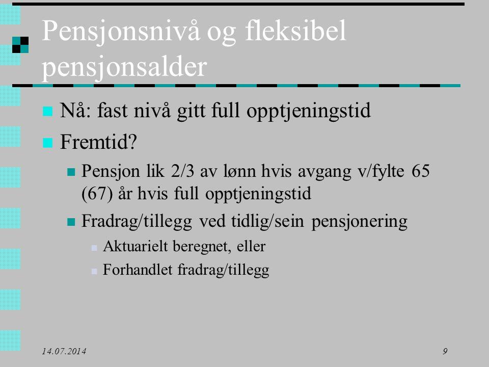 Pensjonsnivå og fleksibel pensjonsalder