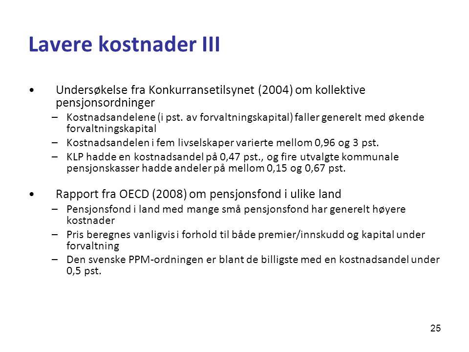 Lavere kostnader III Undersøkelse fra Konkurransetilsynet (2004) om kollektive pensjonsordninger.