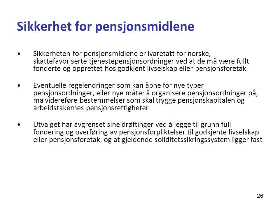 Sikkerhet for pensjonsmidlene