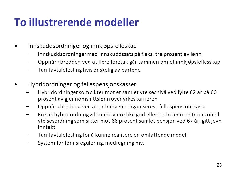 To illustrerende modeller