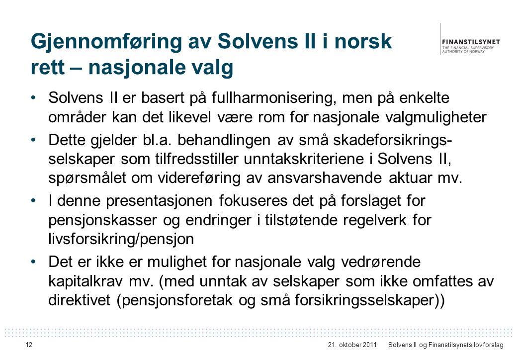 Gjennomføring av Solvens II i norsk rett – nasjonale valg