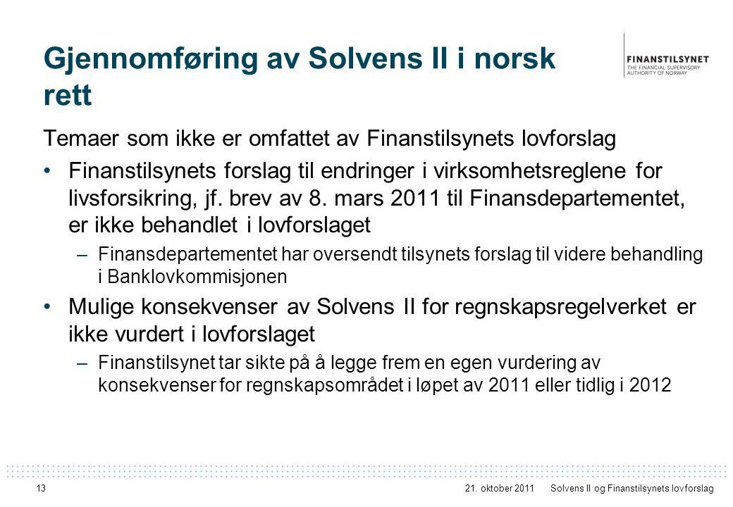 Gjennomføring av Solvens II i norsk rett