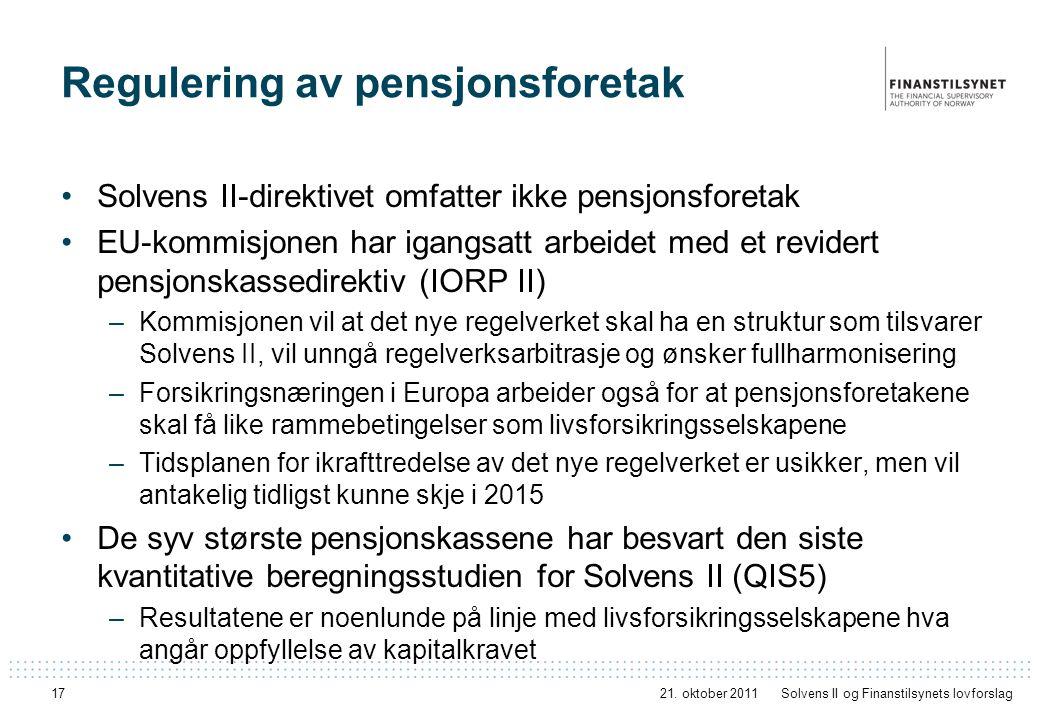 Regulering av pensjonsforetak