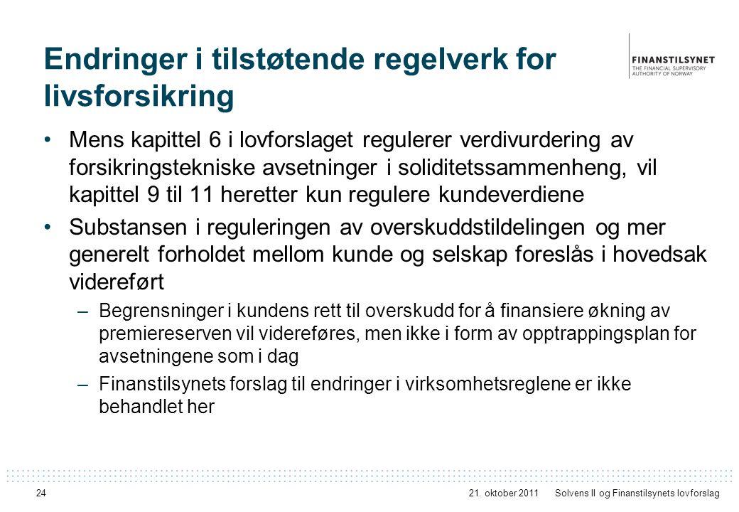 Endringer i tilstøtende regelverk for livsforsikring