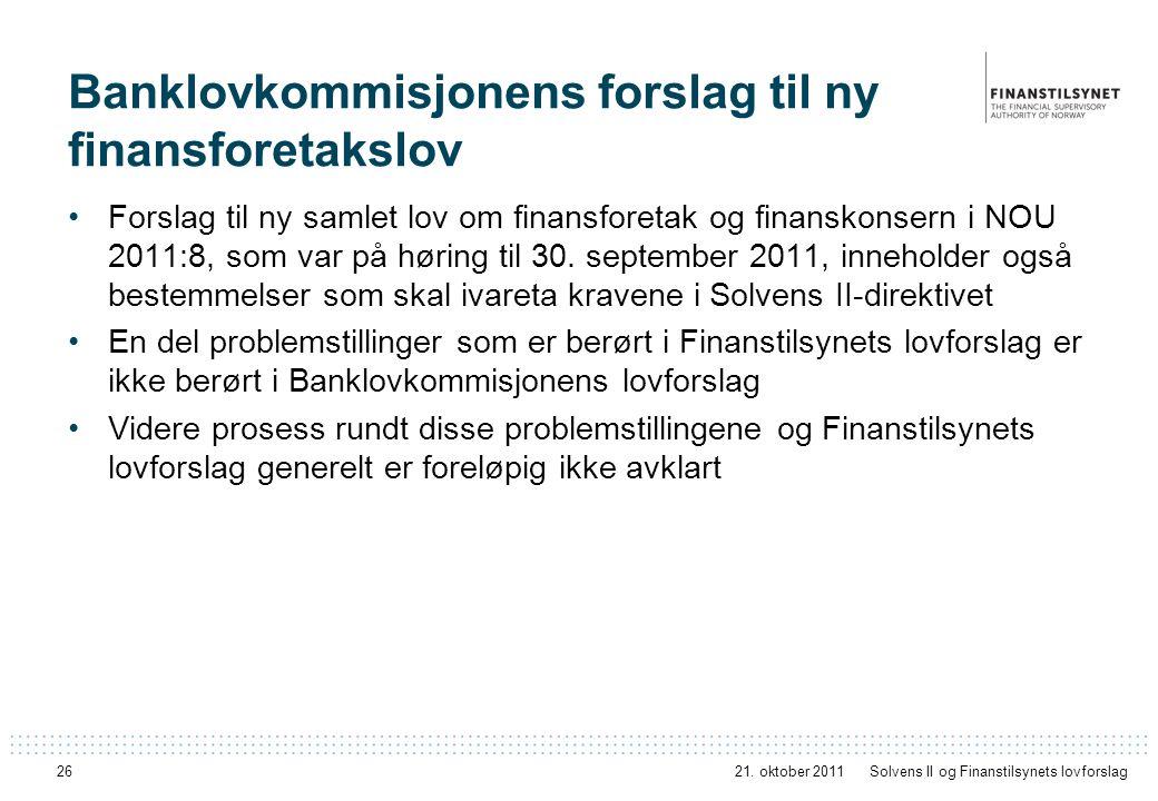 Banklovkommisjonens forslag til ny finansforetakslov