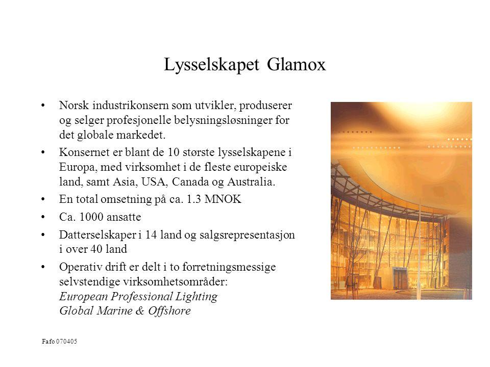Lysselskapet Glamox Norsk industrikonsern som utvikler, produserer og selger profesjonelle belysningsløsninger for det globale markedet.