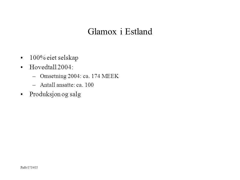 Glamox i Estland 100% eiet selskap Hovedtall 2004: Produksjon og salg