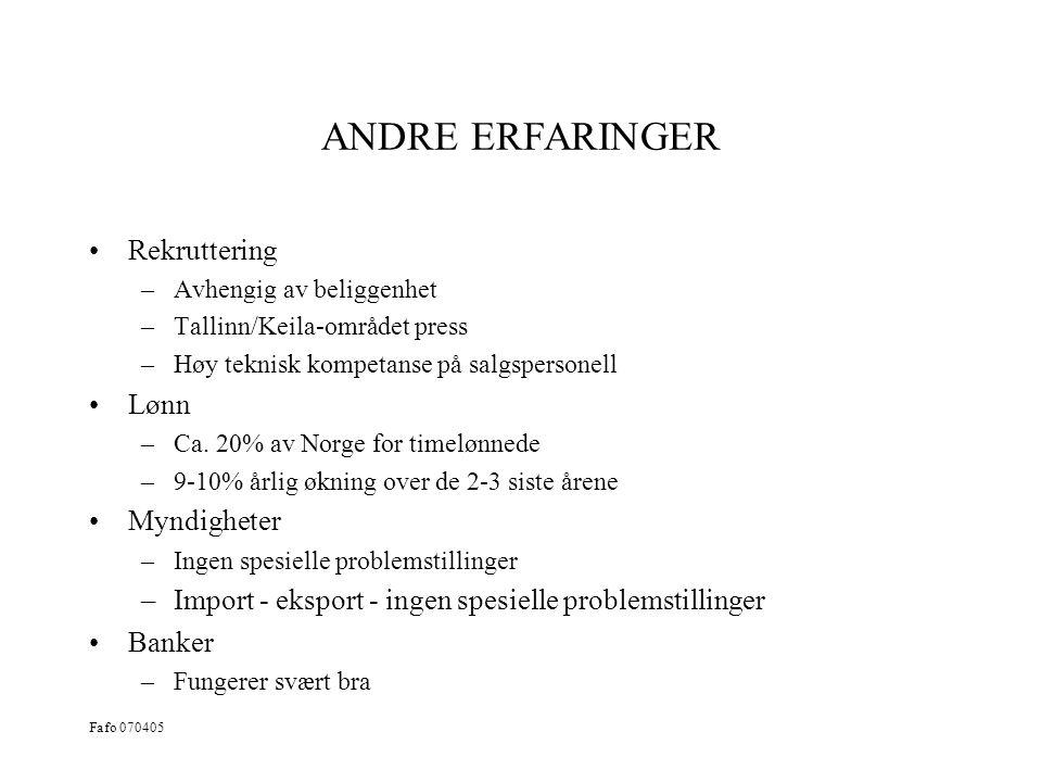 ANDRE ERFARINGER Rekruttering Lønn Myndigheter