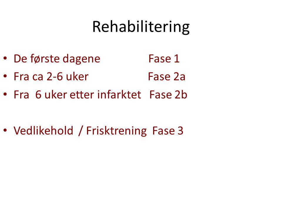 Rehabilitering De første dagene Fase 1 Fra ca 2-6 uker Fase 2a