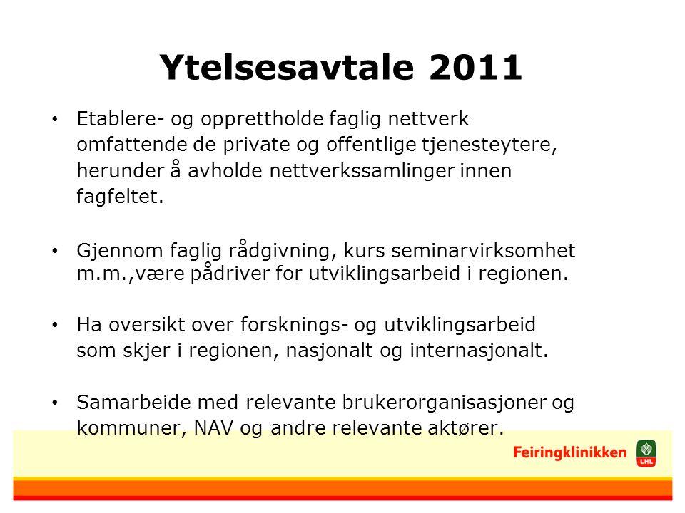 Ytelsesavtale 2011 Etablere- og opprettholde faglig nettverk