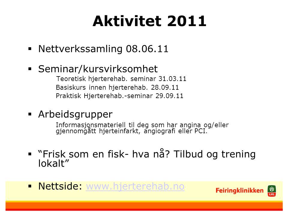 Aktivitet 2011 Nettverkssamling 08.06.11 Seminar/kursvirksomhet