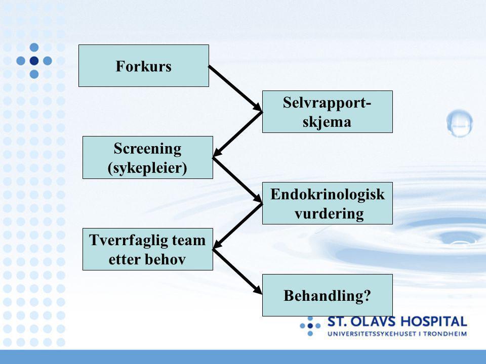 Forkurs Selvrapport- skjema. Screening. (sykepleier) Endokrinologisk. vurdering. Tverrfaglig team.