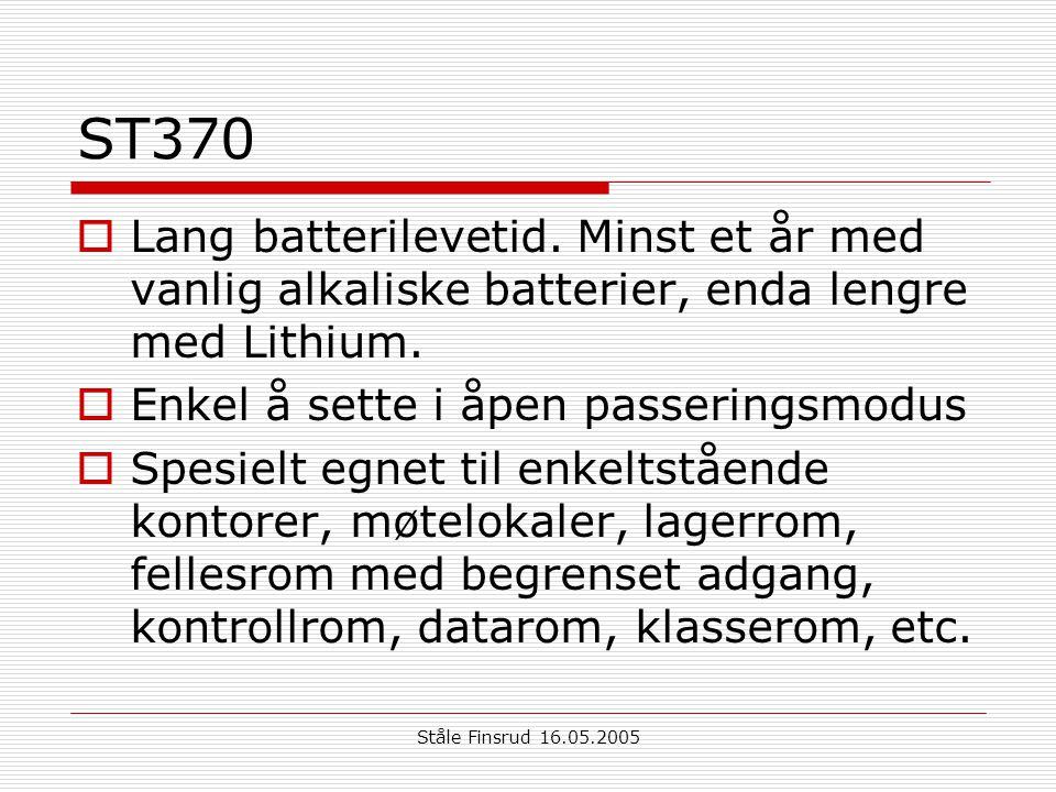 ST370 Lang batterilevetid. Minst et år med vanlig alkaliske batterier, enda lengre med Lithium. Enkel å sette i åpen passeringsmodus.
