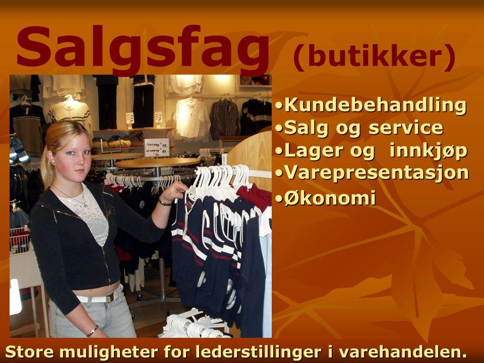 Salgsfag (butikker) Kundebehandling Salg og service Lager og innkjøp