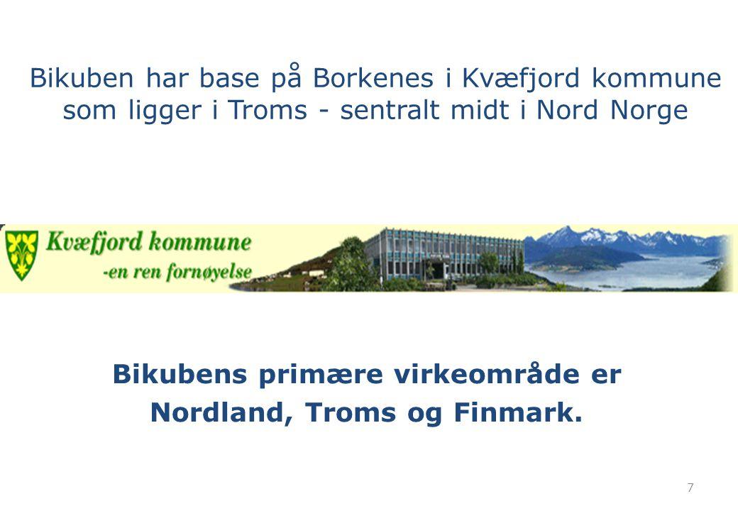 Bikubens primære virkeområde er Nordland, Troms og Finmark.